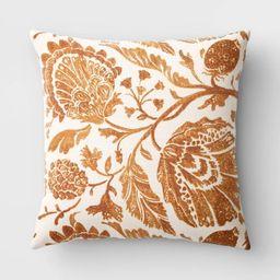 Square Floral Printed Jacobean Throw Pillow - Threshold™ | Target