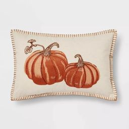 Embroidered Pumpkin Lumbar Throw Pillow Neutral/Orange - Threshold™ | Target
