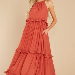 Inspire Chic Rust Maxi Dress   Red Dress