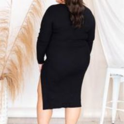 Hear The Applause Black Ribbed Scoop Neck Midi Dress   The Pink Lily Boutique