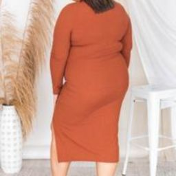 Lasting Remark Rust Long Sleeve Ribbed Midi Dress   The Pink Lily Boutique