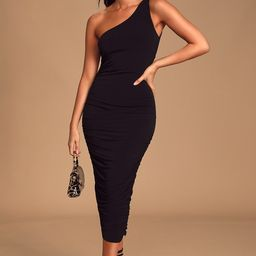 Total Appeal Black Ruched One-Shoulder Bodycon Midi Dress   Lulus (US)