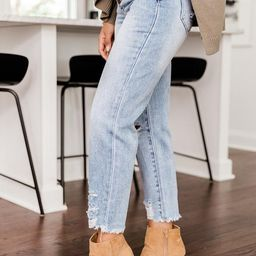 Lucy Distressed Girlfriend Medium Wash Jeans | The Pink Lily Boutique