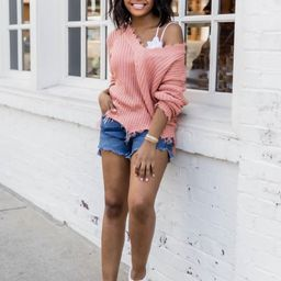 Commitment To Cool Mauve Distressed Sweater | The Pink Lily Boutique