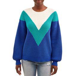 Time and Tru Women's Chevron Shaker Pullover | Walmart (US)