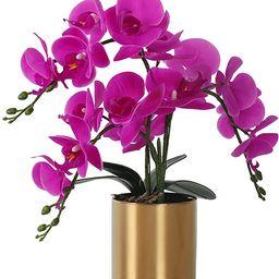 LESING Artificial Orchid Flower with Vase, White Orchid Bonsai Faux Orchid Phalaenopsis Plant Pot... | Amazon (US)