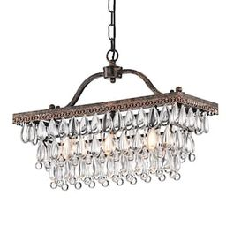 Edvivi Chiara 3-Light Antique Bronze Rectangular Chandelier with Crystal Hanging-EPD300AB - The H... | The Home Depot