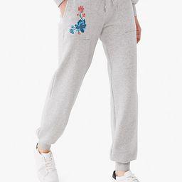 Kate Spade Floral Embroidered Sweatpants, Grey Melange - XXS   Kate Spade (US)