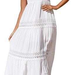 HaSaiki Women's Bohemian Lace Maxi Dresses Square Neck Sleeveless Beach Party Long Dress Sundress | Amazon (UK)
