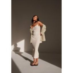 Re_Styld Cream Rib Strappy Midaxi Dress | Missguided (US & CA)