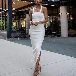 The Drop Women's Whisper White Strappy Rib Midi Dress by @signedblake | Amazon (US)