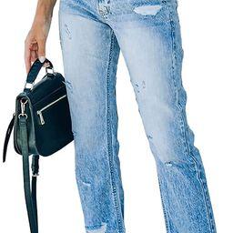 Sidefeel Women Patchwork Destroyed Raw Hem Jeans Ripped Hole Denim Pants | Amazon (US)