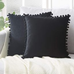 Top Finel Decorative Throw Pillow Covers with Pom Poms Soft Particles Velvet Solid Cushion Covers... | Amazon (US)