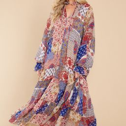 Head Over Feet Red And Blue Multi Print Cover Up Dress   Red Dress
