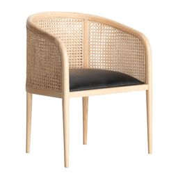 Mera Double Cane Dining Chair - Black Leather/Natural   Amara (UK)