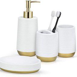 TONIAL Bathroom Accessories Set 4 Piece Resin Bathroom Decor Set with Soap/Lotion Dispenser, Toot...   Amazon (US)