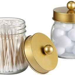 SheeChung Mason Jar Bathroom Apothecary Jars - Qtip Holder Canister Gold Bathroom Accessories Van...   Amazon (US)