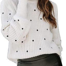 KIRUNDO Winter Women's Sweater Chunky Turtleneck Sweaters Pullover Warm Long Sleeve Polka Dot Loo... | Amazon (US)