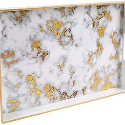 MAONAME Plastic Decorative Tray, Rectangular Marbling Tray with Handles, Coffee Table Serving Tra...   Amazon (US)