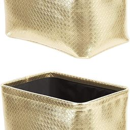 Amazon Basics Storage Bins - Metallic Gold, 2-Pack   Amazon (US)