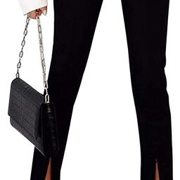 TWFRHC Women Elastic Waist Skinny High Waist Pants Split Hem Wide Leg Flared Bell Bottom Pants | Amazon (US)