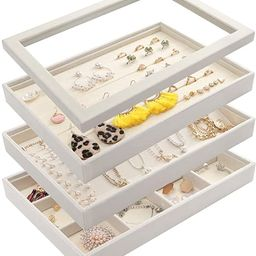 Mebbay Stackable White Velvet Jewelry Trays Organizer Set with Clear Lid Jewelry Storage Display ... | Amazon (US)