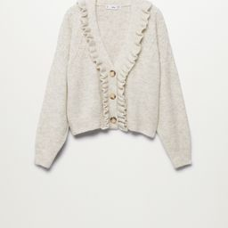 Ruffle openwork knit cardigan | MANGO (US)