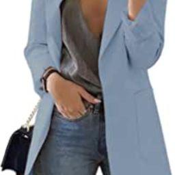 Cnkwei Womens Casual Blazers Open Front Long Sleeve Lapel Collar Work Office Jacket | Amazon (US)