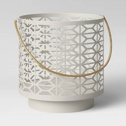 Metal Outdoor Lantern White Punched - Project 62™   Target