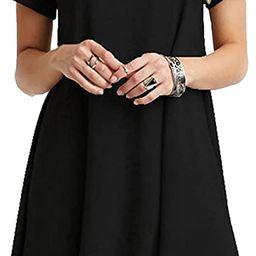 MOLERANI Women's Casual Plain Short Sleeve Simple T-Shirt Loose Dress Black S at Amazon Women's... | Amazon (US)