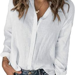 Karlywindow Womens Long Sleeve Button Down Cotton Linen Shirt Blouse Loose Fit Casual V-Neck Tops... | Amazon (US)