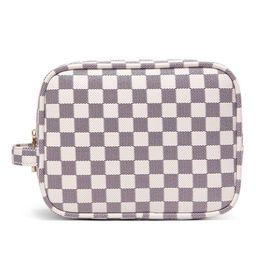 Daisy Rose Luxury Checkered Make Up Bag | PU Vegan Leather Cosmetic Toiletry Travel bag (Cream) | Walmart (US)