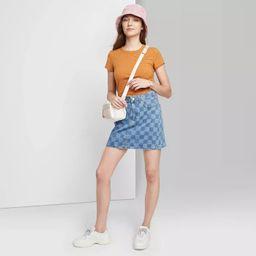 Women's Super-High Rise Denim Mini Skirt - Wild Fable™ Blue Check | Target