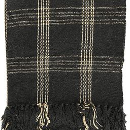 Creative Co-op DF3609 Plaid Black & Tan Fringed Woven Cotton Blend Throw, Black | Amazon (US)