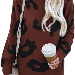 LAISHEN Women's Casual Leopard Print Sweater Loose Long Sleeve Crew Neck Knit Pullover Tops   Amazon (US)