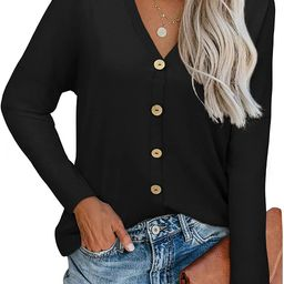ULTRANICE Womens V Neck Long Sleeve Button Down Tunic Tops Basic Loose T Shirts Solid Casual Blou... | Amazon (US)