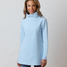Cobble Hill Turtleneck in Terry Fleece (Ice Blue) | Dudley Stephens