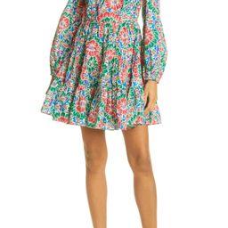 Roxy Long Sleeve Floral Tier Minidress | Nordstrom