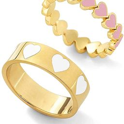2PCS Colorful Heart Ring Gold Band Rings Set for Women Girl Couple. Cute Love Heart Plain Stackab... | Amazon (US)