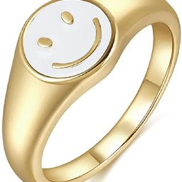 Smiley Face Ring Signet Asthetic Cool Dainty Statement Rings for Women Girls   Amazon (US)