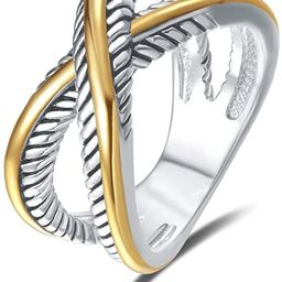 UNY Ring Vintage Designer Fashion Brand Women Valentine Gift Two Tone Plating Twisted Cable Wire ... | Amazon (US)