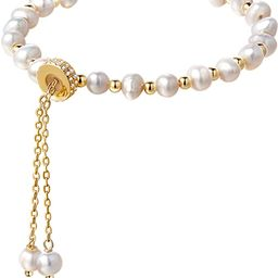 Cowlyn Pearl Bracelet Chain Link Baroque Culture Bossimi 14K Gold Filled Adjustable Fashion Valen...   Amazon (US)