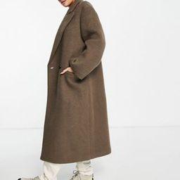 ASOS DESIGN brushed hero dad coat in brown | ASOS (Global)