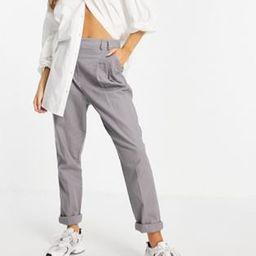 ASOS DESIGN high waist slim peg trouser in grey linen   ASOS (Global)
