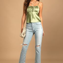 All is Flair Light Green Satin Ruched Cami Top | Lulus (US)