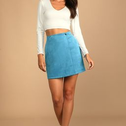 Let's Wrap It Up Slate Blue Suede Wrap Mini Skirt | Lulus (US)