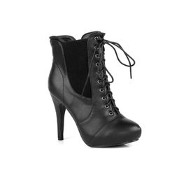 Full Side Zipper Almond Toe Women's High Heel Booties in Black | Walmart (US)