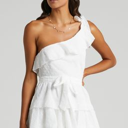 Darling I Am A Daydream One Shoulder Ruffle Mini Dress in White | Showpo