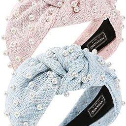 QIANXUAN Wide Hair Bands For Women Fashion White Pearl Headbands For Women Top Knot Headband For ... | Amazon (US)