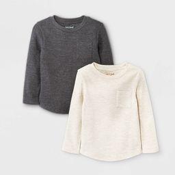 Toddler Boys' 2pk Ottoman Long Sleeve T-Shirt - Cat & Jack™ Cream/Charcoal Gray   Target